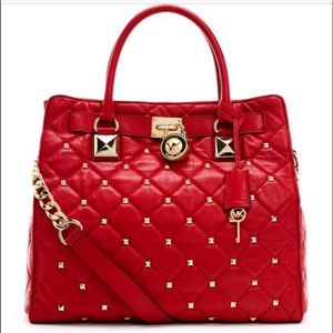 Michael Kors Leather Large Hamilton Studded Quilted Tote Shoulder Bag Chain Red